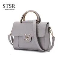 STSR Leather Clutch Bag Female Handbag Luxury Beach Tote Ms. Fringe Shoulder Bag Tote gray one size 7