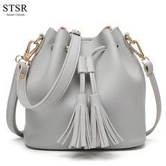 STSR 2019 ladies bag tassel leather handbag Messenger bag luxury bucket female handbag gray one size