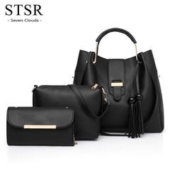 STSR 3 piece set / ladies handbag Pu leather diagonal cross edging strip decorative shoulder bag black one size