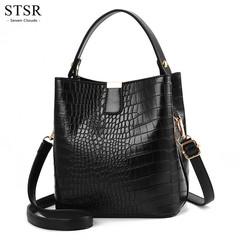 STSR Vintage leather bag ladies handbag large capacity Messenger bag ladies PU wallet black one size