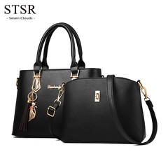 STSR New women's bag women's fashion handbag shoulder bag handbag purse 2 pieces black one size