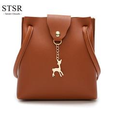 STSR Fashion PU leather shoulder bag deer barrel mobile phone bag wallet oblique handbag brown one size