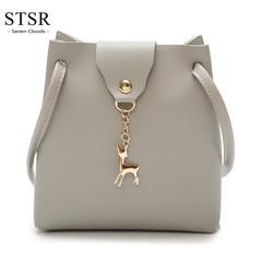 STSR Fashion PU leather shoulder bag deer barrel mobile phone bag wallet oblique handbag gray one size