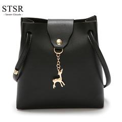 STSR Fashion PU leather shoulder bag deer barrel mobile phone bag wallet oblique handbag black one size