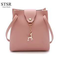 STSR Fashion PU leather shoulder bag deer barrel mobile phone bag wallet oblique handbag pink one size