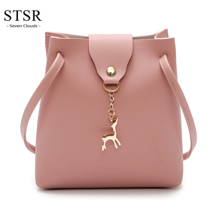 STSR Fashion PU leather shoulder bag deer barrel mobile phone bag wallet oblique handbag pink one size