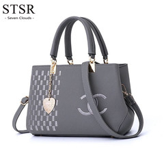 STSR 2019 hot women's bag shoulder bag portable trend simple ladies handbag gray one size