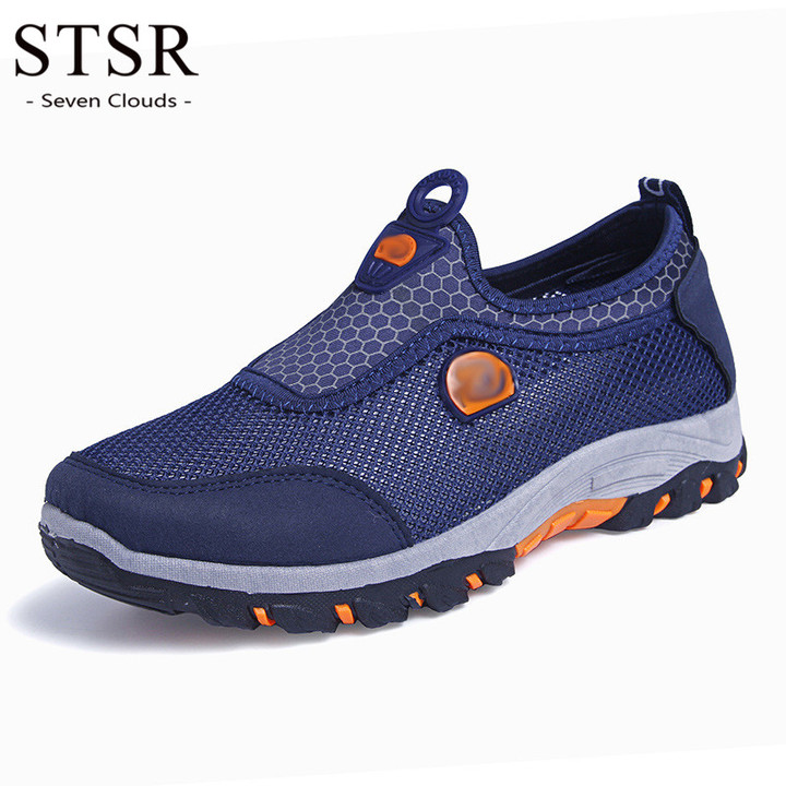 STSR Outdoor sports men's camping shoes breathable waterproof coating men's hiking shoes blue 39