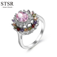 STSR 2019 new fashion colorful silver crystal jewelry party ring wedding engagement ring silver one size