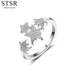 STSR Fashion sky star shaped ring inlaid zircon jewelry ring ladies wedding ring silver silver one size