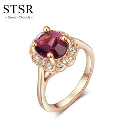 STSR Genuine gold ring green crystal antique ring size ladies men's party fashion jewelry gold red one size