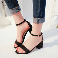 STSR 2019 new sandals ladies sandals suede high heels square heel ladies button shoes black 34