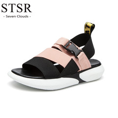STSR 2019 summer women's comfortable beach sandals flat shoes women's casual shoes pink 36