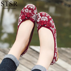 STSR Women's comfortable autumn handmade cloth shoes breathable women's shoes red 35