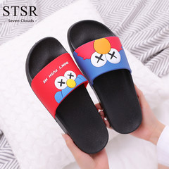STSR Slippers female cartoon home 2019 new sandals and slippers outside wearing slippers black 250(36/37)