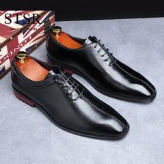 STSR Men's shoes dress shoes shoes shoes wedding shoes breathable lining men's shoes black 39 leather shoes