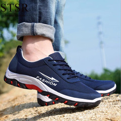 STSR Brand black sports shoes men's outdoor casual flat shoes with breathable shoes blue 39