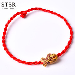 2 pieces Fashion Red Rope Bracelet Braided Rope Bracelet Female Girl David's Charm Hand Jewelry Goldfish one size