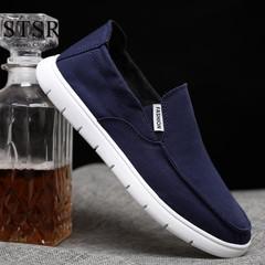 STSR 2019 new men's sports shoes comfortable men's shoes canvas flat fashion shoes blue 39