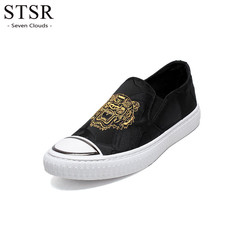 STSR Sports shoes men 2019 luxury brand anti-skid lazy shoes tiger embroidery sneakers black 39