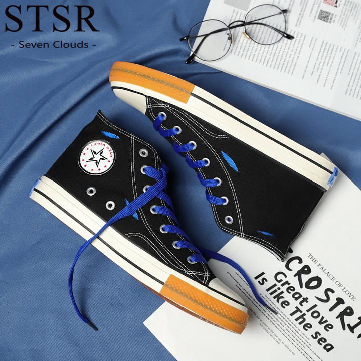 STSR Canvas shoes men's 3 color design men's casual sports shoes comfortable casual shoes black blue 39