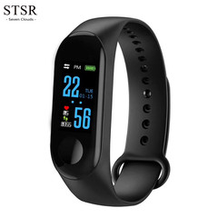 STSR Smart watch Bluetooth touch screen men's and women's bracelets sports bracelet black one size