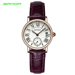 STSR Watch women's top brand luxury leather strap quartz watch women's fashion dress clock purple one size