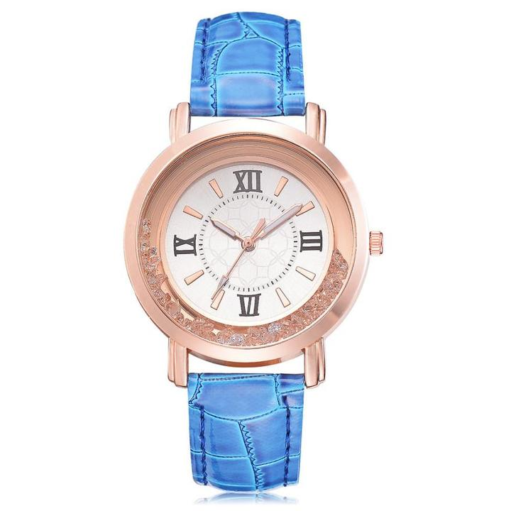 STSR Leather stainless steel quartz watch ladies fashion luxury casual set clock elegant blue one size