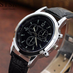 STSR Men's business fashion new luxury belt sports and leisure quartz watch black one size