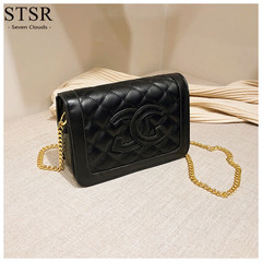 STSR Female bag 2019 embroidered line small square bag chain shoulder Messenger bag black one size