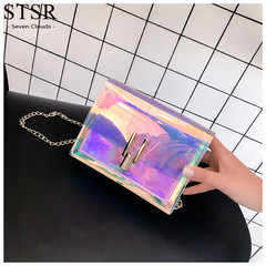 STSR Women's bag transparent bag fashion women's shoulder Messenger bag waterproof beach bag pink one size