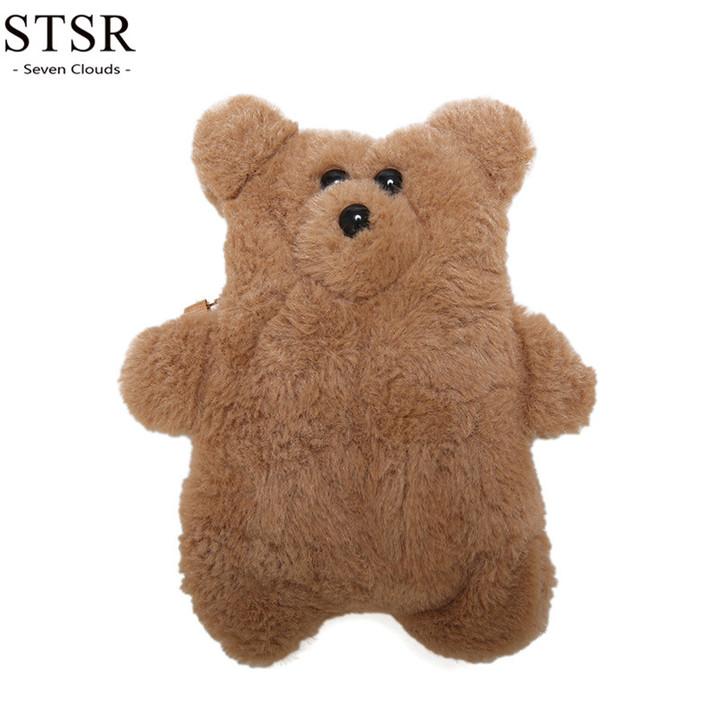 STSR New bear plush bag cartoon cute fashion women's bag Messenger bag female bag 2019 brown one size