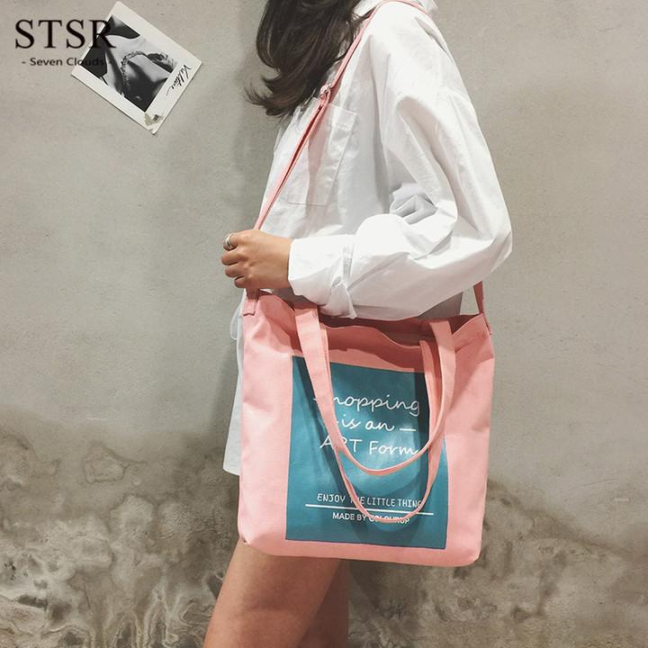 STSR Letter pattern one shoulder shopping green bag girl casual canvas bag female handbag pink blue one size