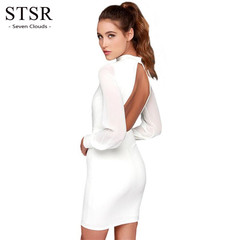 STSR Summer sexy backless slim pencil skirt ladies retro fashion patchwork halter dress banquet s white