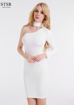 STSR Bandage dress 2019 ladies one shoulder sexy tight evening dress casual long-sleeved slim dress s white