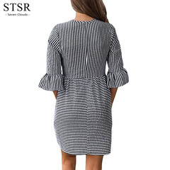 STSR Women's Ladies Fashion Round Collar Striped Casual Mini Dress Women's Summer Dress s black
