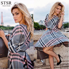 STSR Women's Dress Party Casual Dress Plaid Half Sleeve Autumn Costume s As shown