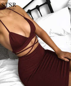 STSR V-neck sexy club cross bandage camisole summer dress women elegant dress knee length mini s red