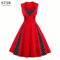 STSR Plus size dress women button robes vintage retro dress rock dot party dress elegant robes s red