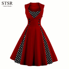 STSR Plus size dress women button robes vintage retro dress rock dot party dress elegant robes s wine red