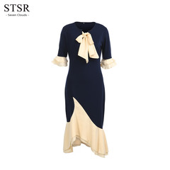 STSR Fashion women's strappy dress asymmetrical ladies ruffled banquet wrap dress s navy
