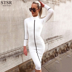 STSR Sexy tight dress women's autumn and winter long sleeve ladies party dress fashion casual 2019 s white