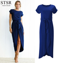 STSR 2019 fashion dress sleeve length belt women's ladies and girls casual cotton T-shirt dress s navy