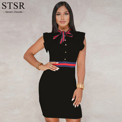 STSR Women's Sexy Skinny Dress Black Sleeveless Short Casual Office Women's Dress s black