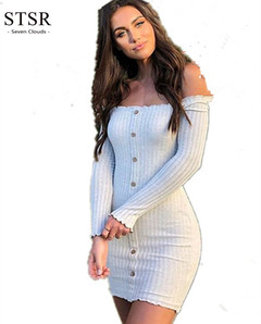 STSR 2019 sexy slim dress strapless long sleeve sexy slash neck tight dress party dress s white