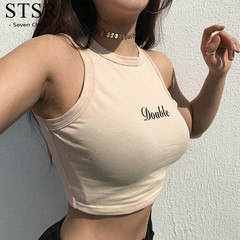 STSR New ladies summer letter double-layer printed vest sexy navel sleeveless shirt Slim vest top color S