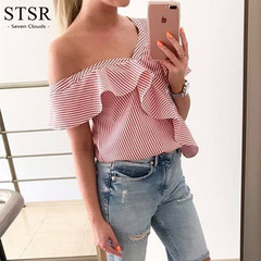 STSR Summer Women's Striped Shirt Sweet Short Sleeve Button Shirt Sexy Shirt Women's Casual Top red s