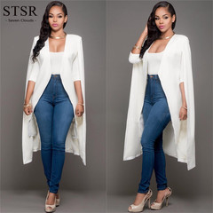 STSR Women's Long Blazer Office Women's Jacket Long Sleeve Women's Elegant Formal Blazer Dress white s