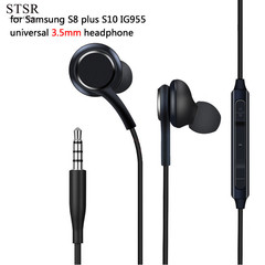 Stereo Sports In-ear Earphones With Mic 3.5mm Control Box Wired Headset For Samsung Galaxy S8 S8plus black