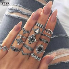 15 Pieces / set Jewelry Fashion Crystal Ring Woman's Crown Lotus Silver Ring Set Jewelry silver one size